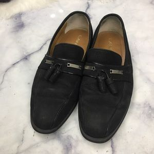 LANCEL black nubuck suede loafers JP 24eee